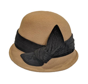Tan Wool Cloche Hat with Black Velvet Band and Bow