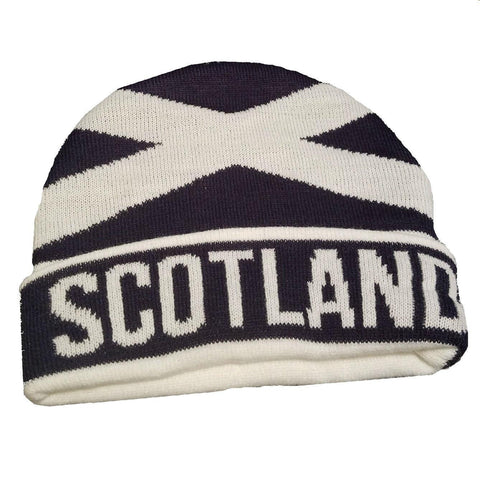 "navy blue beanie with ""Scotland"" written in white, St. Andrew's cross in white"