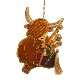 Bagpiping Highland Cow Ornament