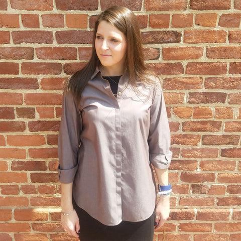 women's cotton blouse in taupe
