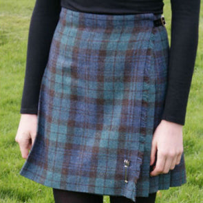 Black Watch tartan wool pleated kilt skirt for women