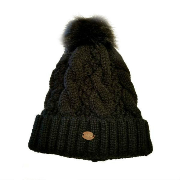 Cable Beanie with Faux Fur Pom Pom