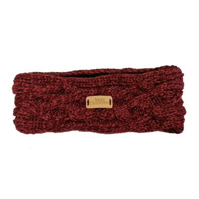 Aran Knit Headband | Raspberry