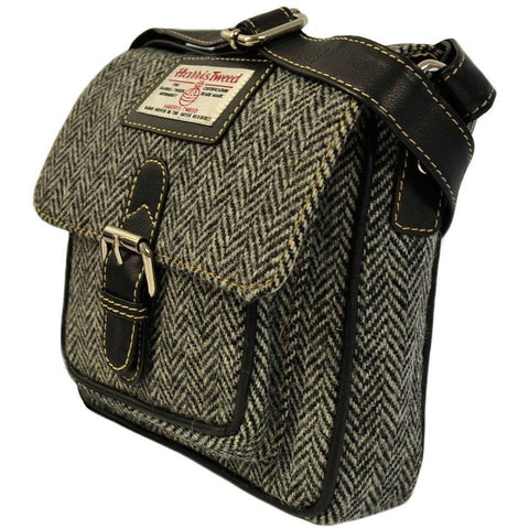 Harris Tweed Buckle Bag — Black Herringbone — Scotland House, Ltd.
