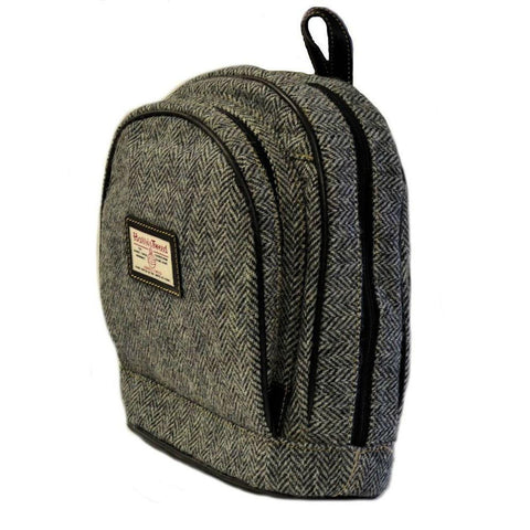 Harris Tweed Scarista Backpack — Black Herringbone — Scotland House, Ltd.