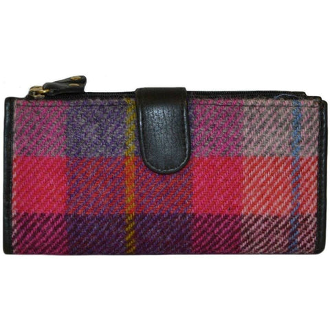 Harris Tweed St. Kilda Wallet Purse — Pink & Purple Pattern — Scotland House, Ltd.