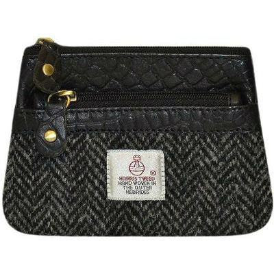 Harris Tweed Barra Coin Purse — Black Herringbone — Scotland House, Ltd.