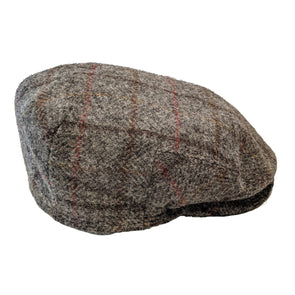 Harris Tweed Flat Cap | Grey with Red Check