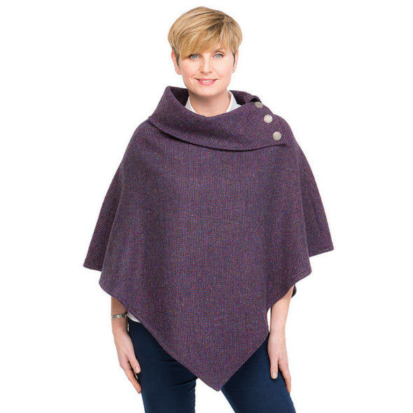 women's purple Harris Tweed poncho with metal Celtic buttons