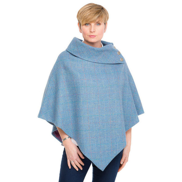 women's powder blue Harris Tweed poncho with metal Celtic buttons