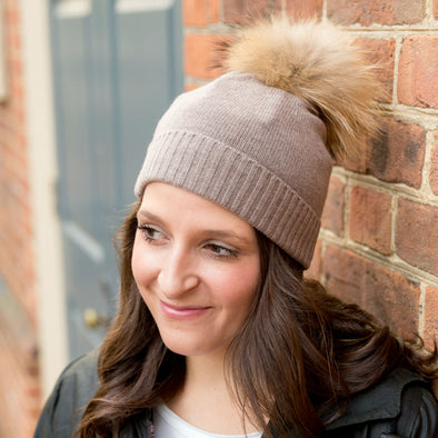 Merino wool knit beanie for women with real fur pom pom 78a20d36d0b
