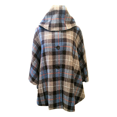 Harris Tweed Hooded Tartan Button Cape