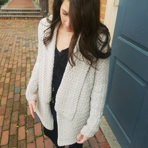 beige lambswool waterfall cardigan, women's