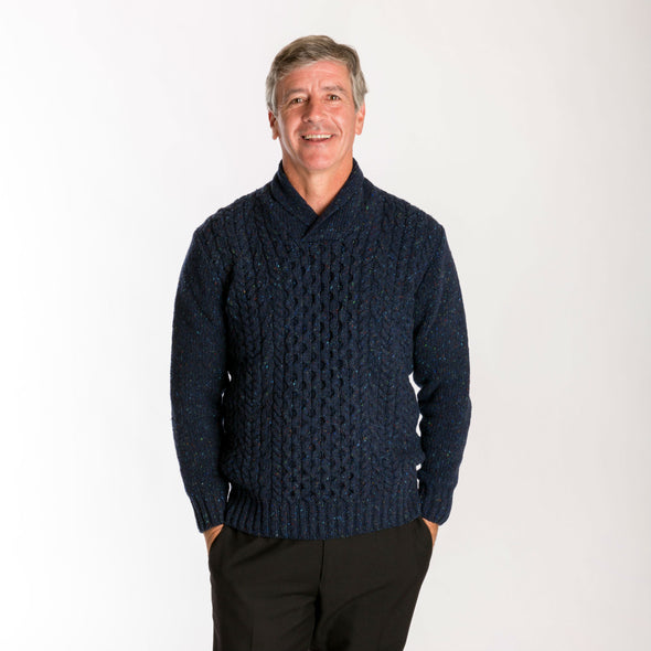 navy lambswool blend shawl collar sweater, men's