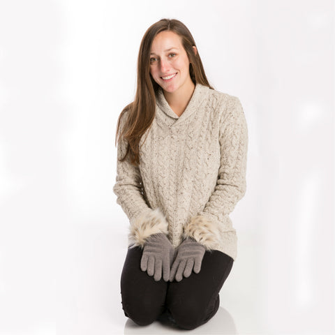 beige wool shawl collar sweater, women's