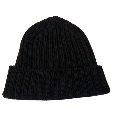 100% Merino wool ribbed knit beanie in navy for men & women