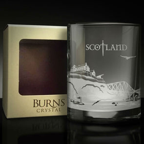 whiskey glass with Scottish landmarks engraved