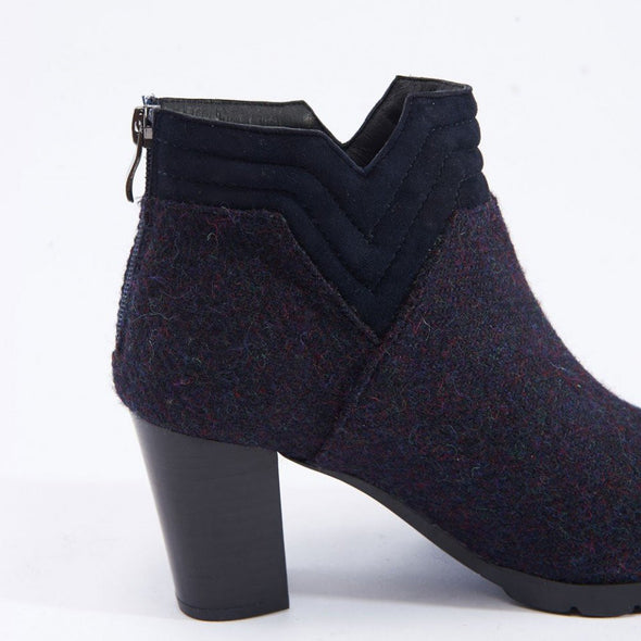 women's Harris Tweed purple tweed block heel ankle boots