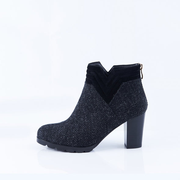 Harris Tweed & Sheepskin Block Heel Ankle Boots