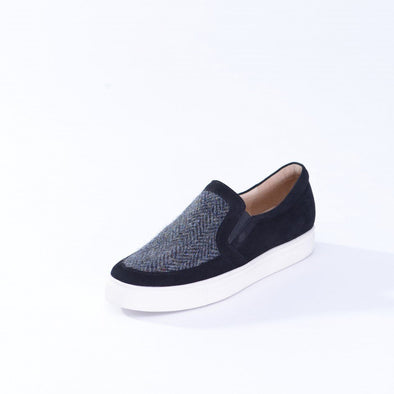 black & grey herringbone Harris Tweed trainer shoes for women