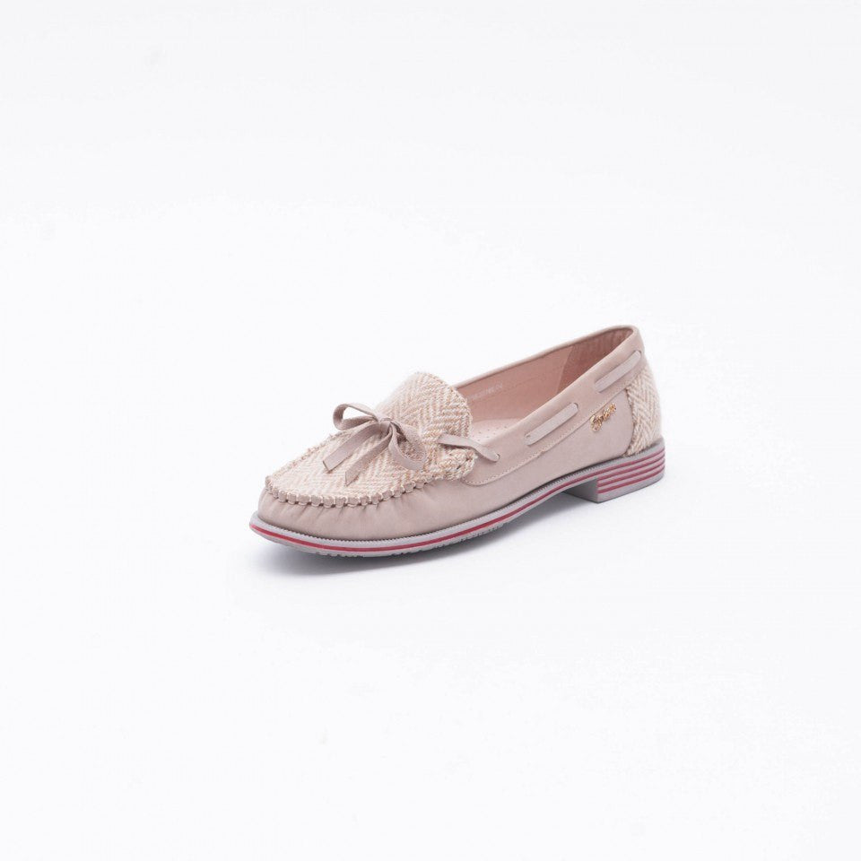 Women's Boat Shoes with Harris Tweed — Cream — Scotland House, Ltd.