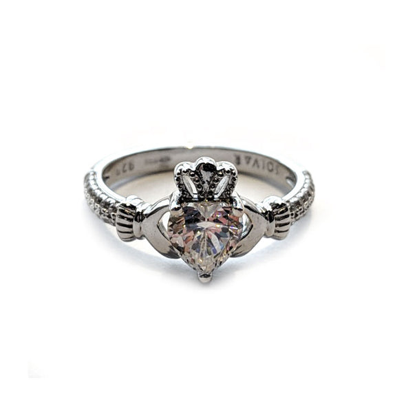 Silver Claddagh Ring with Clear Swarovski Crystal