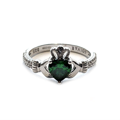Silver Claddagh Ring with Green Swarovski Crystal