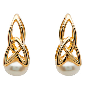 Gold & Pearl Trinity Knot Earrings