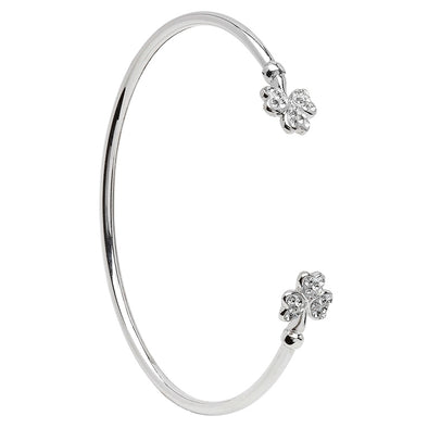 Silver Shamrock Bangle with Swarovski Crystal