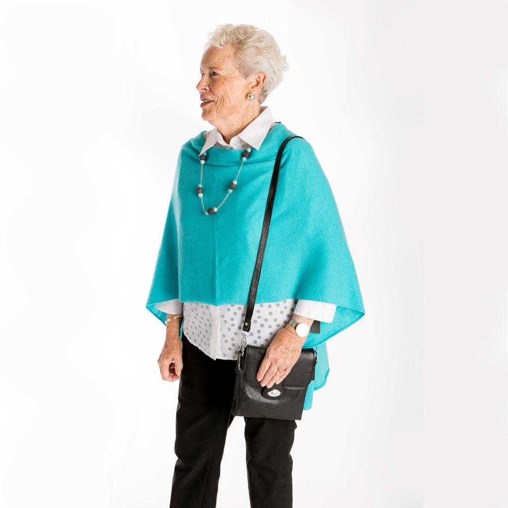 vibrant turquoise 100% cashmere short poncho, women's