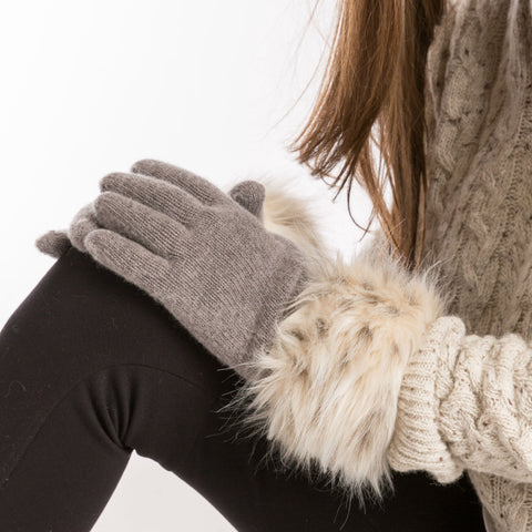women's grey wool gloves with faux fur trim