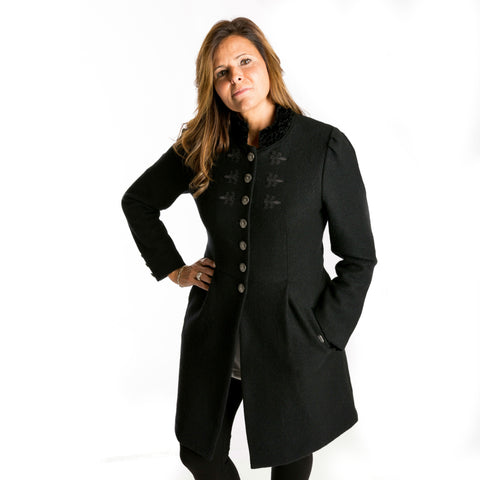 Boiled Wool Coat in Black