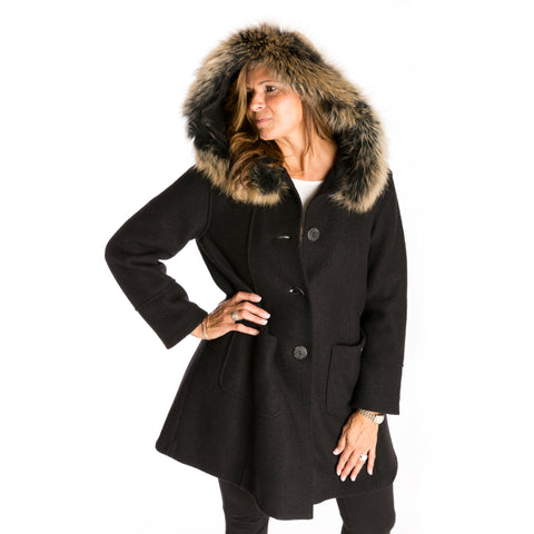 black boiled wool coat with true fur hood, women's