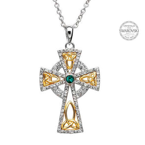Gold Plated Trinity Cross Pendant with Swarovski Crystal