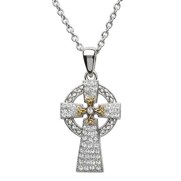 Silver Two-Tone Celtic Cross with Swarovski Crystal