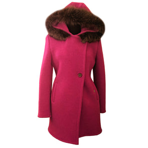 Geiger Boiled Wool Hooded Fur Trim Coat