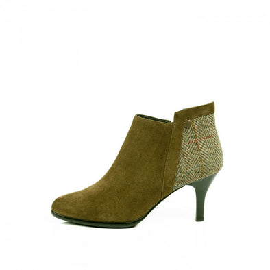 Harris Tweed & Sheepskin Pointed Heel Ankle Boots