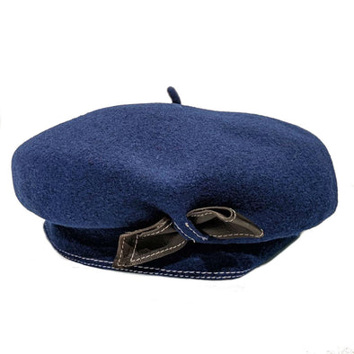 Authentic French Wool Beret with Leather Bow Strap