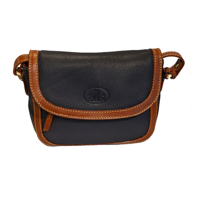 Navy & Tan Leather Cross-body Purse