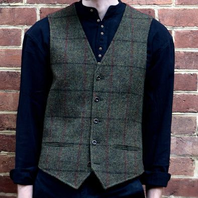 Oransay Harris Tweed Vest | Olive with Black & Red Check