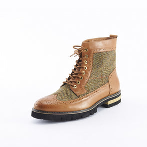 Men's Harris Tweed Wingtip Boots
