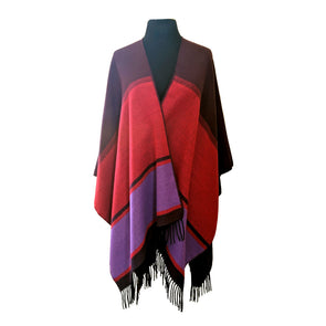 Color Blocks Ruana with Tassels | Red & Purple
