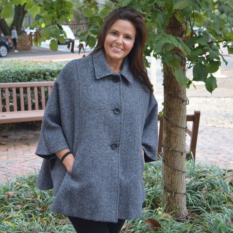 Tweed Button Cape