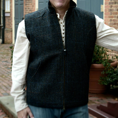 Lined Harris Tweed Zip Vest