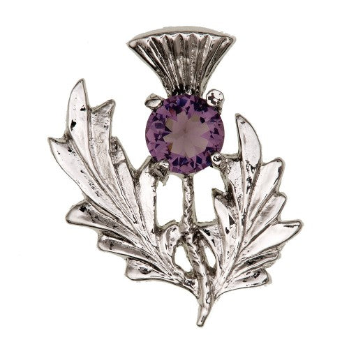 Scottish Thistle Brooch with Stone, Small