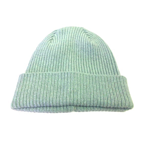 Ribbed Mint Green Angora Beanie