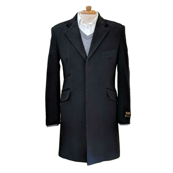 Wool & Cashmere Blend Slim Fit 3/4 Topcoat