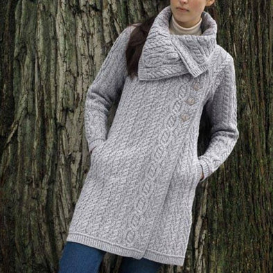 Light Grey Aran Sweater Coat with Three Side Buttons and Large Collar