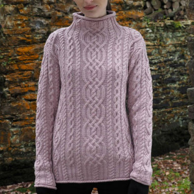 Ultra-Soft Roll Neck Aran Sweater