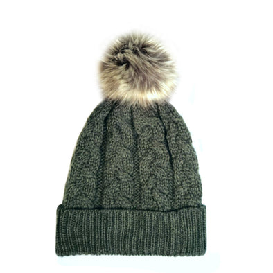 Aran Cable Knit Beanie with Faux Fur Pom Pom